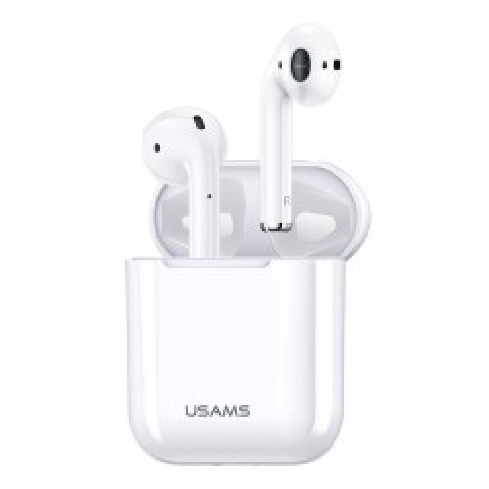 Casti wireless USAMS, earbuds, Bluetooth, alb