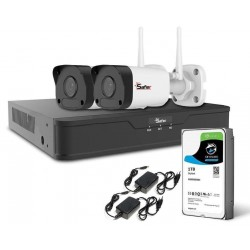 Kit complet supraveghere wireless cu 2 camere exterior 4 MP, IR 30M, accesorii incluse + HDD 1TB